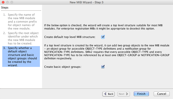 MIB Designer New MIB Wizard Step 3